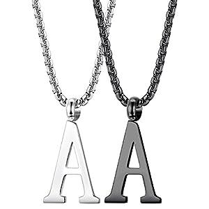 Thunaraz 2PCS Stainless Steel Initial Letter Necklace Minimalist Alphabet Name Jewelry Men Women Personalized Charm Pendant Necklace