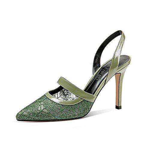 YXINY Zapatos de tacón Sandalias Tacones Sra. De Moda Clásico Encaje Malla Temporada De Verano 9cm Verde ( Tamaño : EU36/UK3.5/CN35 )