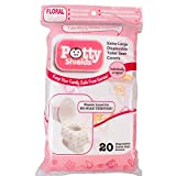 Toilet Seat Covers- Disposable XL Potty Seat Covers, Individually Wrapped by Potty Shields - Extra-Large, No Slip (Floral- 20 Pack): more info