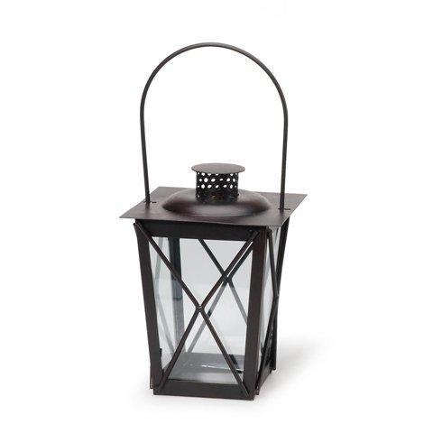 Tapered Black Metal Candle Lantern