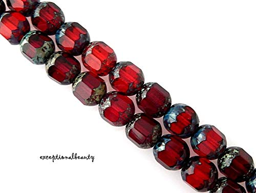 (25 Ruby Garnet Red Mix Czech Glass 8mm Cathedral Fire Polished Faceted Beads )