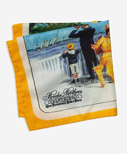 Brooks Brothers(ブルックス ブラザーズ) 【40周年記念商品】カシミヤ/シルク SPRING 1979 カタログプリント ポケットスクエア 11445170 オレンジ ワンサイズ 【日本限定販売】