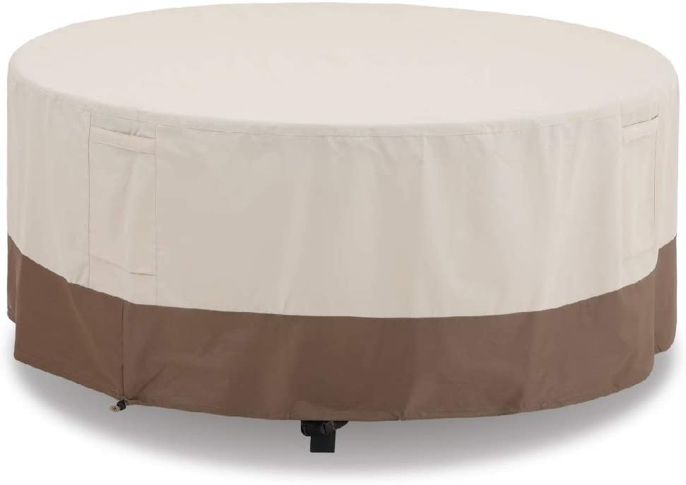 PHI VILLA Patio Round Table & Chair Set Cover, Durable Water Resistant Heavy Duty Outdoor Furniture Cover with Pop-up Supporter, Small