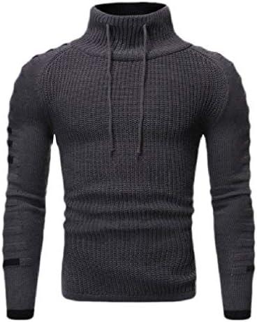 メンズドローストリング カラーブロック ニット クラシック プルオーバー タートルネック セーター