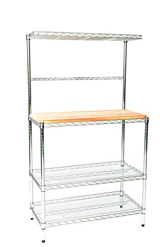 18'' Deep x 48'' Wide x 74'' High Deluxe Chrome Bakers Rack with Top Shelf & Butcher Block by Omega