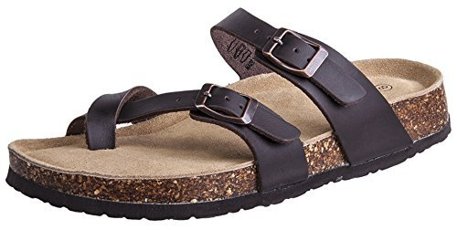 (Festooning Ladies Cork Sandals Suede Footbed Slides Double Metal Adjustable Buckle Strap Walking Shoes Brown 10 M)