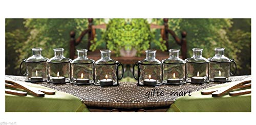 (5 Rustic Glass Bottle Candelabra Long Table Candle Holder Wedding Centerpiece Decorative Centerpieces for Living Dinning Room Table Decoration, Wedding Gifts)