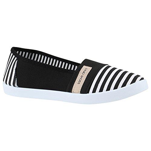 Trendy Damen Ballerinas Sportliche Ballerina Schuhe Stoffschuhe Flats Übergrößen Glitzer Slippers Slip-Ons Flandell Schwarz Prints
