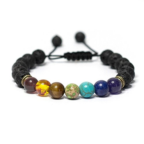 Vitality Extracts - 7 Chakra Adjustable Lava Stone Diffuser Bracelet - grounding, healing, essential oils, aromatherapy