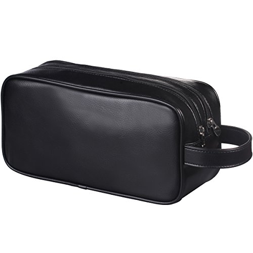 HappyDavid Soft PU Leather Zipped Travel Toiletry Bag Mens Ladies Supply Toiletry Bag Case(black) (Toiletry Leather Bag)