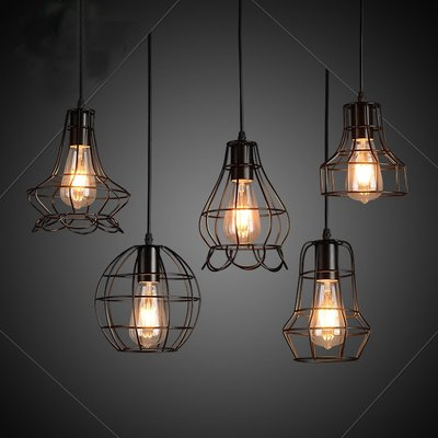Lilyminiso Vintage Industrial Loft Wire Cage Hanging Pendant Lighting Rustic Barn Metal Chandelier for Bedroom, Dining Room, Kitchen, Cafe, Bar, Club, Foyers