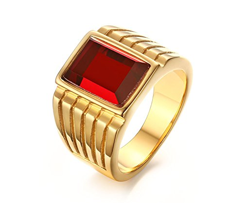 Stainless Steel Square Red Rhinestone Solitaire Ring for Men Wedding Band Engagement Size 11