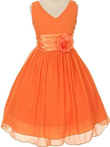 orange satin prom dress - 7