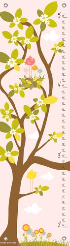 Oopsy Daisy in The Branches Finny and Zook Growth Charts, Pastel Pink, 12 x 42'' by Oopsy Daisy