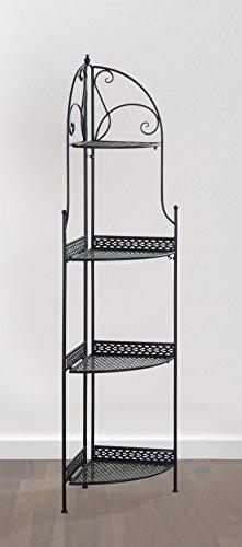 eHemco 4 Tier Metal Folding Corner Rack/Shelf in Black