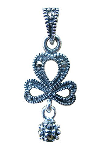 FaithOwl Ribbon & Dangle Ball Marcasite 925 Sterling Silver Pendant (Pendant without chain) (Sterling Silver Marcasite Ribbon)
