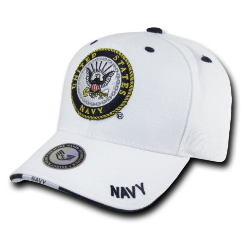 Rapid Dominance Genuine White Military Baseball Caps - Adjustable - US NAVY -