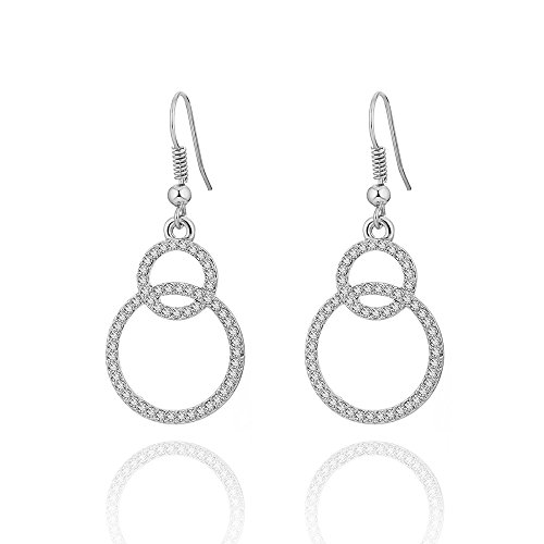 Dangle Earring for Women, Double Circles Drop Earring Girls Vintage Earring Anti-allergy Stainless Steel Hook Earring with CZ Crystal (Silver Plated Double ()