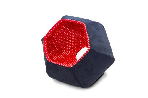 FurHaven Pet Nap Sleep and Peek Cat Bed, 21-Inch, Navy and R
