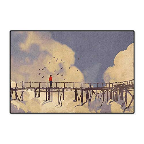 (Art,Door Mat for Tub,Man Standing on Unsafe Bridge Looking at Clouds Outdoor Depression Loneliness Art Print,Customize Door Mat with Non Slip Backing,Multicolor,Size,16