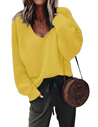 ZHENWEI Womens Soft Loose Pullover Sweatshirt Deep V Neck Sexy Sweater Slouchy Yellow