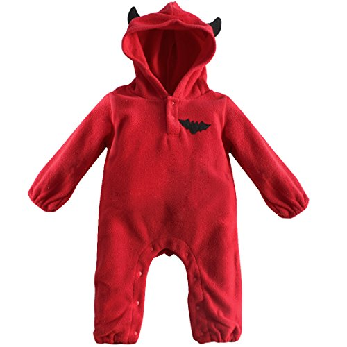 ACSUSS Unisex Infant Baby Halloween Devil Pumpkin Cosplay Costumes Hooded Romper Bodysuit Red 3-6 Months -