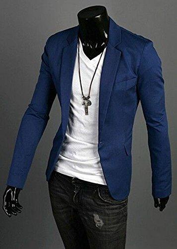 la L SODIAL la R de un estilo del boton chaqueta Casual con hombre con Azul delgado para juego oscuro capa chaquetas de 1TxB1q