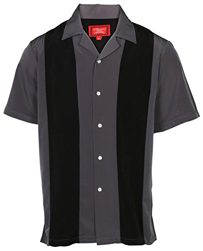 Cotton Shirts Bowling (9 Crowns Men's Retro Bowling Bahama Camp Button-Down Shirt-Black/D.Gray-Large)