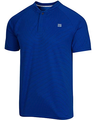 (Three Sixty Six Collarless Golf Shirts for Men - Men's Casual Dry Fit Short Sleeve Polo, Lightweight and Breathable Royal Blue)