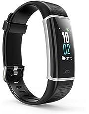 Fitness Armband, Fitness Tracker Wasserdicht IP68 mit 14 Trainingsmodi LCD-Farbbildschirm Helligkeit Einstellbar mit Pulsmesser Schrittzähler Kalorienzähler Trainingsmodi Schlafmonitor Vibrationsalarm Anruf Benachrichtigungen Kompatibel mit iOS Android Handy