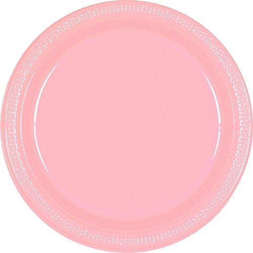 Amscan Party Ready Disposable Round Luncheon Plates (20 Piece), Pink, 6.3 x (Simple Outdoor Halloween Decoration Ideas)