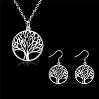 Sumanee The Tree Of Life Sterling Silver Plated Pendant Plants Necklace Earrings Sets