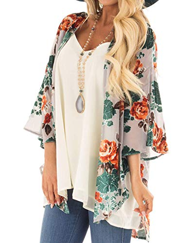 Kimonos for Women Floral Chiffon Kimono Light Weight Cardigans Top for Women S