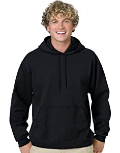 Hanes Men's Pullover EcoSmart Fleece Hoodie, Black, Medium