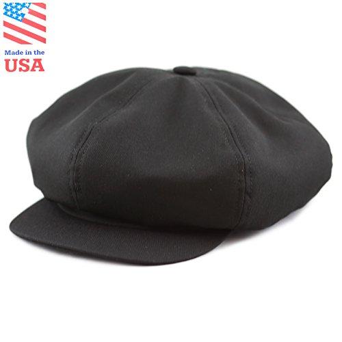 THE HAT DEPOT 100% Cotton Plain Blank 6 Panel Newsboy Gatsby Apple Cabbie Cap Hat Made In USA (Black)