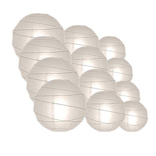 Quasimoon IRR-WH-CP12 12pcs Pack (12/10/8 Inch) Paper Lanterns Crisscross Ribbing, White, 12 Piece (Criss Cross Lamp)