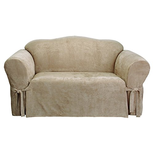 Sure Fit Soft Suede 1-Piece  - Loveseat Slipcover  - Taupe (SF43214) (Soft Chair Suede Wing)