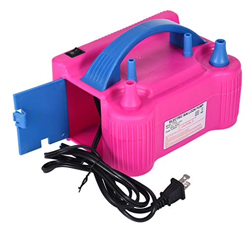 Electric air pump Clearance , Portable Dual Nozzle Rose Red 110V 600W Electric Balloon Blower Pump/Inflator by Little Story