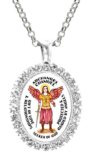(Archangel Chamuel Gift of Love Seeker of God Cz Crystal Silver Necklace Pendant)