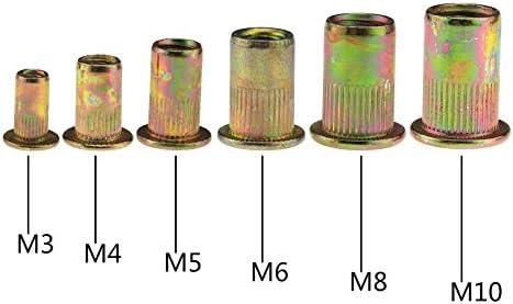 150個 リベットナット ブラインド リベット 亜鉛メッキ カーボンスチール フラットヘッド インサート ナット リベット 詰め合わせセット M3 - M10