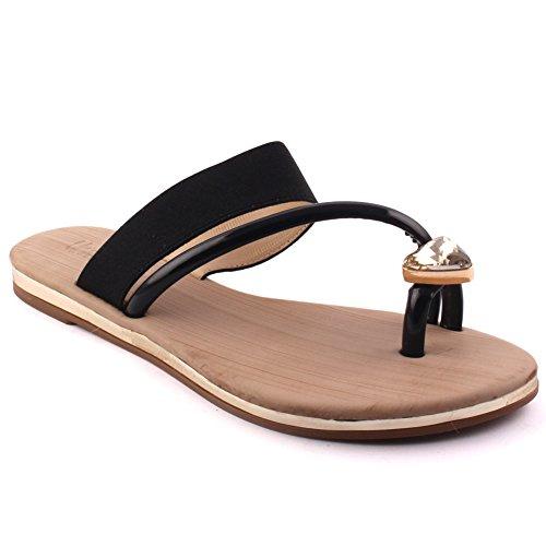 Unze Nuevas mujeres 'Tiana' Toe plana sandalias tanga Verano Beach Party Get Together Escuela Carnaval Casual Zapatillas Zapatos Tamaño UK 3-8 Negro