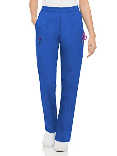 Landau Essentials Women's Classic Fit Elastic-Waist Cargo Scrub Pant Royal Blue M