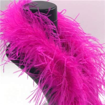 Pukido White Curly Ostrich Feather boa Ostrich Feathers Print Scarf for Costumes Trim Party Craft Colored - (Color: Rose red)