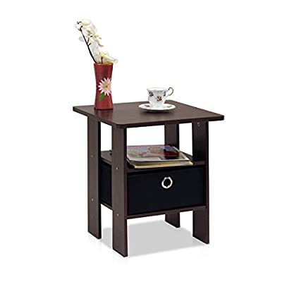 Brown Black End Table Bedroom Night Stand w/Bin Drawer Dark