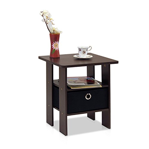 Bamboo Set Nightstand (Brown Black End Table Bedroom Night Stand w/Bin Drawer)