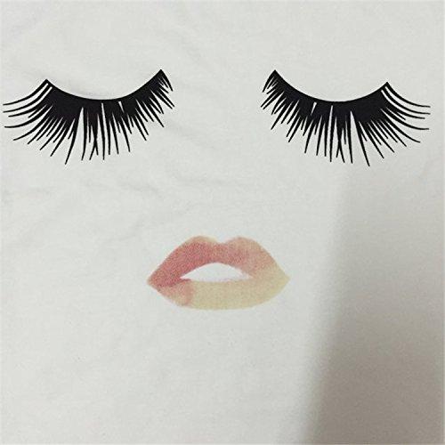 Lâche En Coton Face Blanc Courte T Blouse Acvip Top shirt Manche Imprimé Femme gaqnFOw6