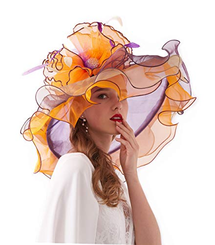 Women's Organza Church Kentucky Derby British Fascinator Bridal Tea Party Wedding Hat Summer Ruffles Cap (H3-Orange and Purple) -