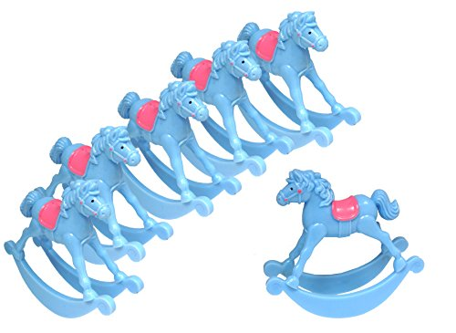 "ACI PARTY AND SPIRIT ACCESSORIES Mini Plastic Rocking Horse 3.5"" Blue with Pink SEAT 6pc Package"