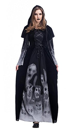 Vampire Themed Costume (Mumentfienlis Womens Vampire Girl Costume Witch Ghost Halloween Costume Dress Size S Black)