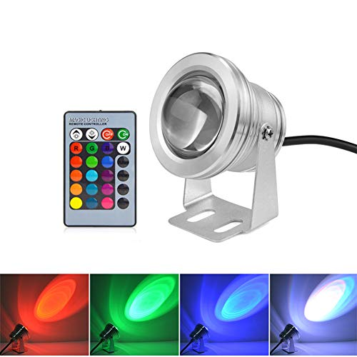 LED Pond Lights Fully Submersible, LED Fountain Lights IP67 Waterproof, 10W 1000LM 12V LED Underwater Swimming Pool Light Spotlight for Fish Tank, Aquarium, Piscina. (Silver Shell, RGB)